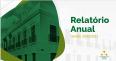 Ilustração mostrando fachada da Corregedoria Geralda Justiça do Maranhão, em fundo verde e sobre fundo branco o texto: Relatório de gestão, com logomarca da CGJ-MA.
