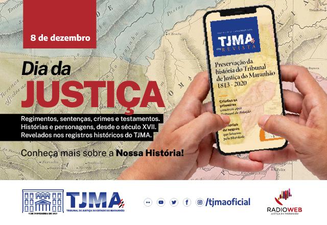 Mãos seguram um celular com a TJMA em Revista na tela. Alusão ao Dia da Justiça em 8 de dezembro.