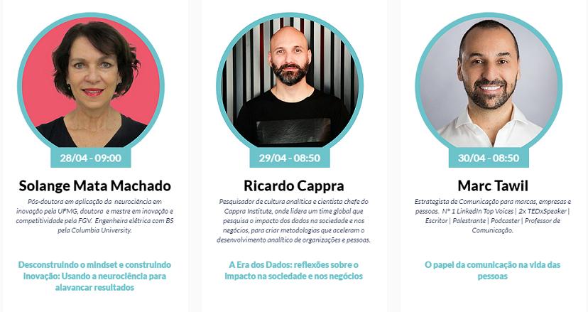 Três círculos alinhados um ao lado do outro com fotos de pessoas em seu interior. A imagem do lado esquerdo é da Solange Mata Machado. A imagem ao centro é do Ricardo Cappra. A imagem à direita é do Marc Tawil.