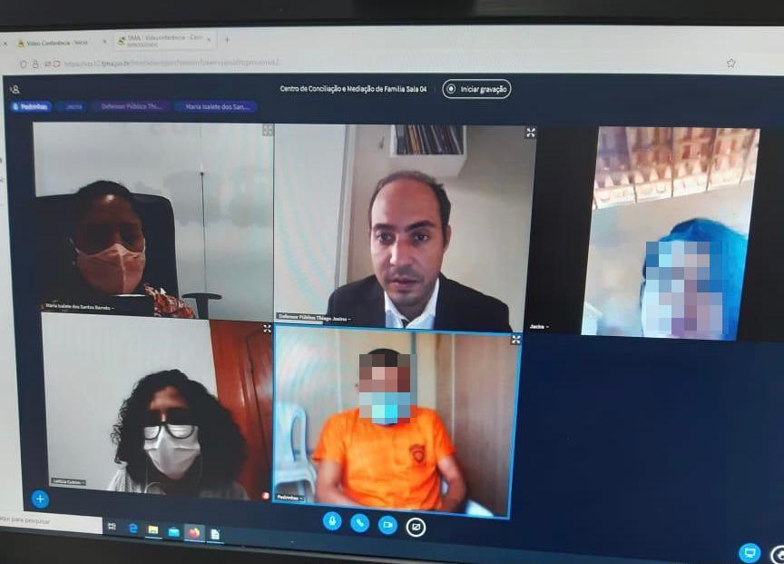 Centro de Conciliação de Família realiza primeira audiência por videoconferência com interno do sistema prisional