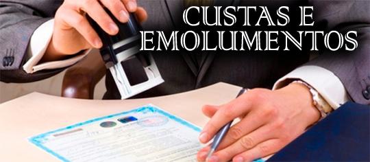 TABELA DE CUSTAS E EMOLUMENTOS